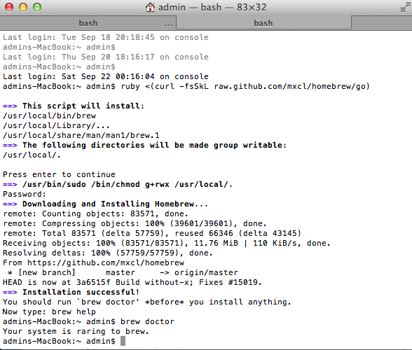 homebrew osx install mountain lion Homebrew   менеджер пакетов для OS X Mavericks 10.9